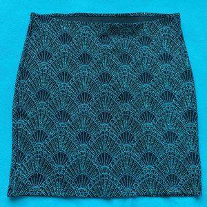 H&M Sparkly Green Art Deco Skirt